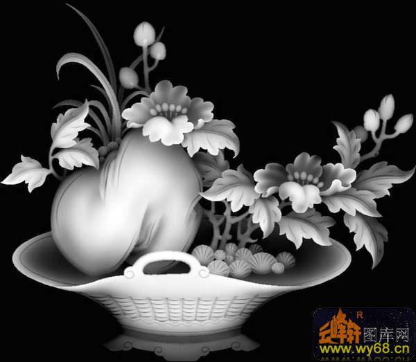 松树 花 仙鹤-浮雕图案