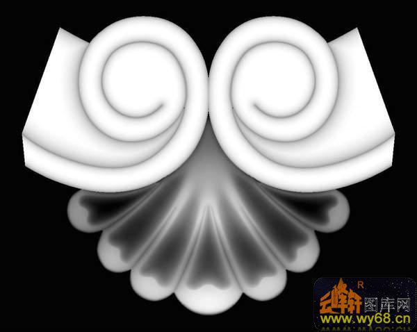 龙 花纹 回纹边框-欧式洋花浮雕灰度图