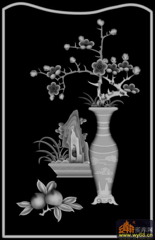 梅花 花瓶 桃-雕刻灰度图