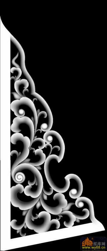 花纹 花钩 三角-灰度图