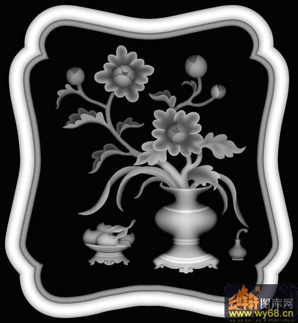 桃 花篮-欧式洋花浮雕灰度图图片