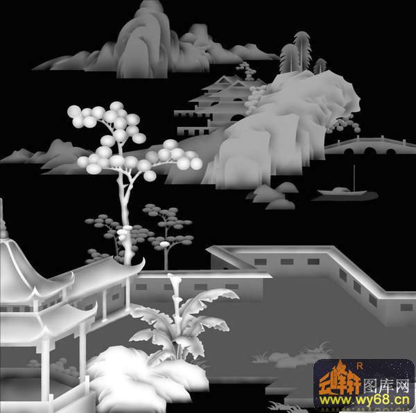 山水 房屋 树-木雕灰度图