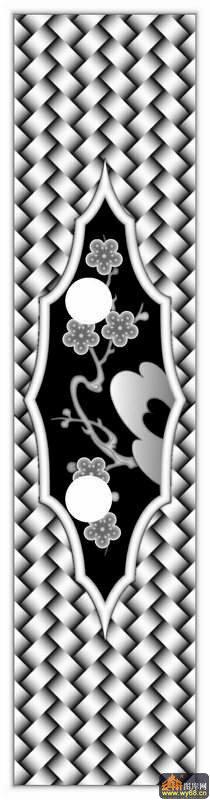 梅花 花纹 席-雕刻灰度图