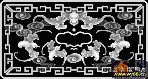 蝙蝠 云-灰度浮雕