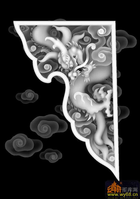 龙云 浮雕图案 灰度图,bmp图,浮雕图,云峰轩雕刻图库网图片