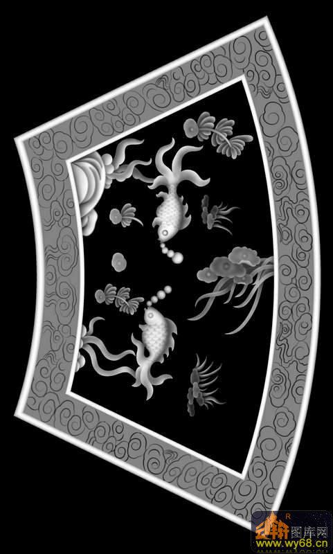 螃蟹 水草 花纹边-欧式