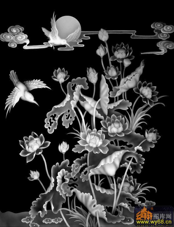荷花 鸟-木雕灰度图