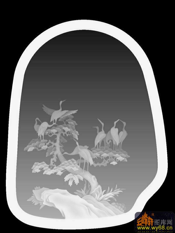 雕刻灰度图                                            松树 仙鹤