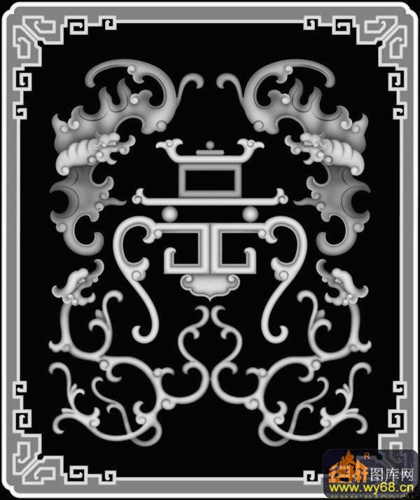 蝙蝠 龙纹-浮雕图案