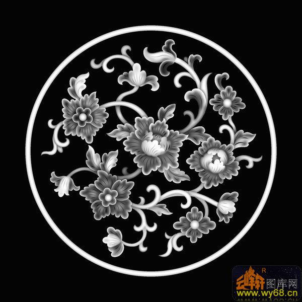 花纹 花钩-欧式洋花浮雕灰度