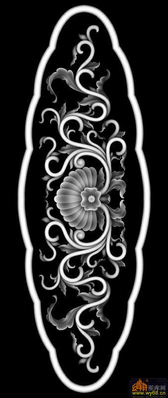 洋花花纹-欧式洋花浮雕灰度图