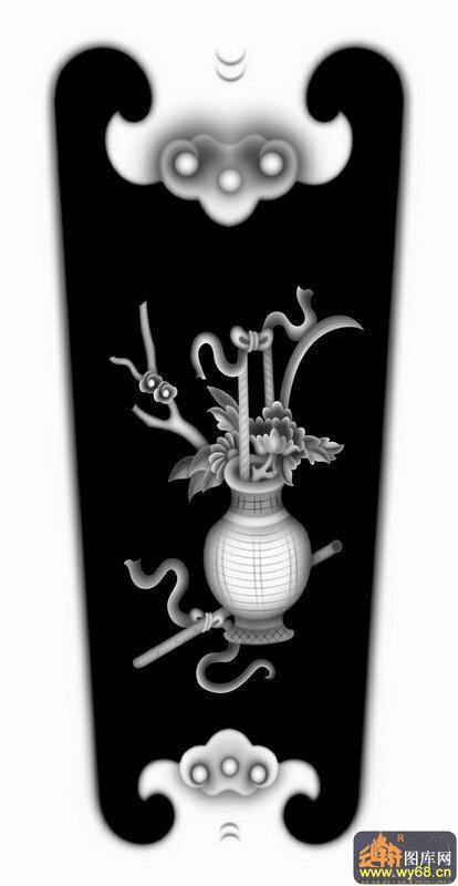 箫花 花瓶-灰度雕刻图