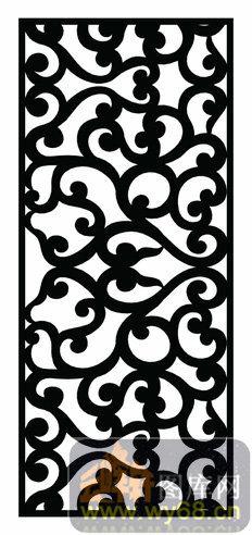 木雕综合001-艺术花纹-欧式002-061-镂空矢量图