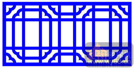 装饰001-蓝色窗棂-中式镂空装饰001-128-木板雕刻