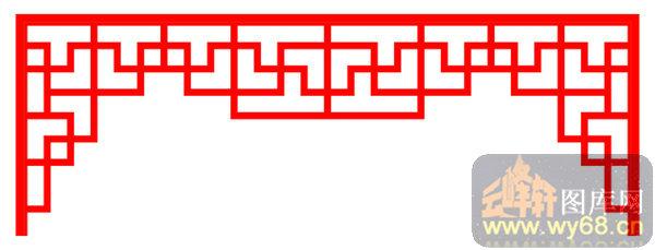 装饰001-门棂-中式镂空装饰001-124-镂空花纹矢量图
