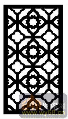 中式镂空装饰003-黑白花纹-中式1-013-镂空雕花矢量
