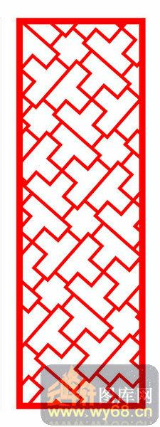 中式镂空装饰003-t形花纹-中式1-080-隔断墙效果图