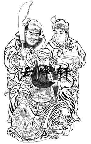 关公-矢量图-关公03-中国国画矢量关公图