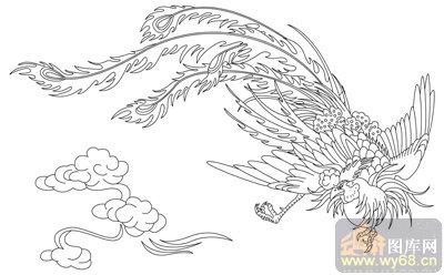 凤-矢量图-双凤呈祥-huangf035-凤路径图