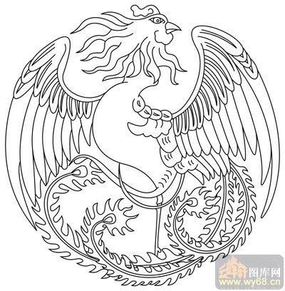 凤-矢量图-凤凰牡丹-huangf032-凤路径图