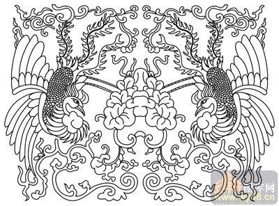凤-矢量图-凤毛龙甲-huangf021-路径凤图