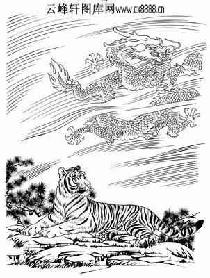 虎第五版-矢量图-落叶老虎-45-虎雕刻图案