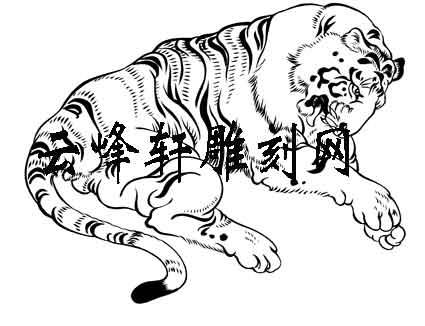 虎矢量图,老虎路径图案 传统历史典故人物图案素材矢量图系列 罗汉