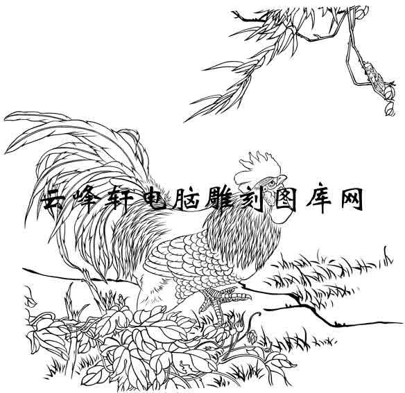 5.20-矢量图-山鸡舞镜-j001-鸡雕刻图片