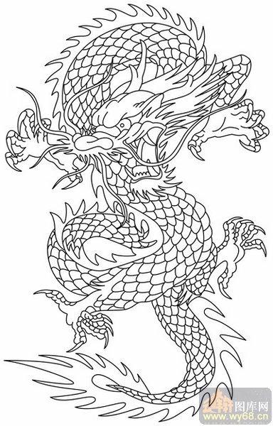 龙的图案图片素描,龙的素描图案,龙素描图案 创意图片,素描龙的图案