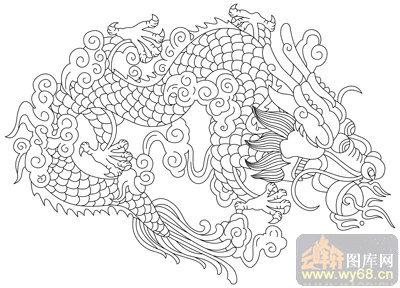 龙-矢量图-游云惊龙-long119-中国国画矢量龙