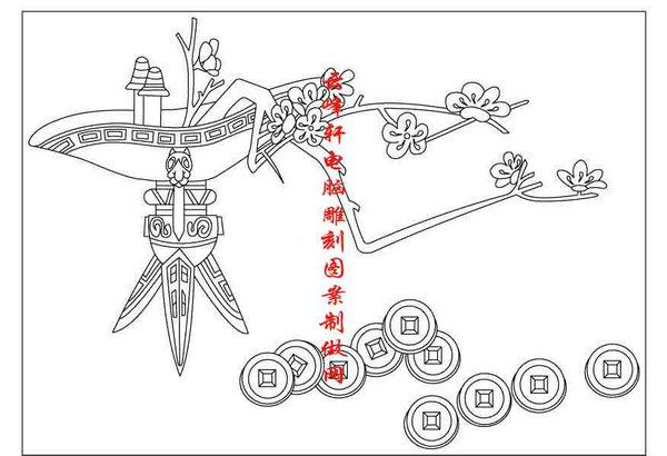 梅兰竹菊-矢量图-梅花 铜钱-mlxj096-梅兰竹菊雕刻图