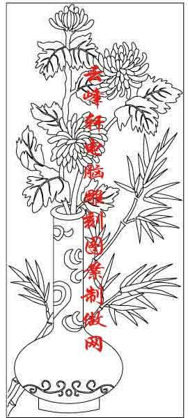梅兰竹菊-矢量图-菊花 花瓶-mlxj084-路径梅兰竹菊图片