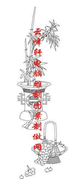 梅兰竹菊-矢量图-竹子 葡萄-mlxj008-矢量梅兰竹菊