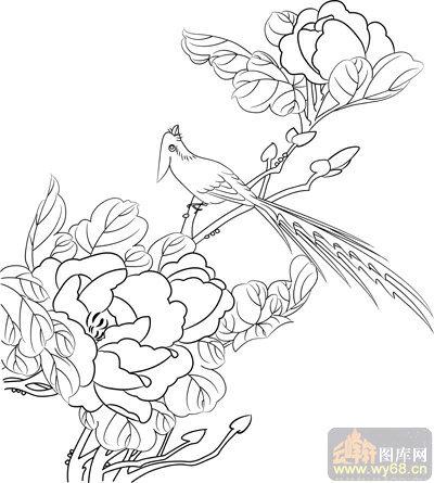 工笔白描牡丹画-矢量图-花团锦簇-mdbm004-路径牡丹