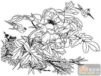 花开富贵-矢量图-牡丹小鸡-19-牡丹刻绘图