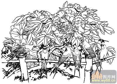 富贵-矢量图-鸟语花香-37-牡丹刻绘图-彩绘图腾牡丹简笔画大脸猫圆