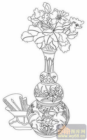矢量图-牡丹花瓶笔筒-玻璃雕刻