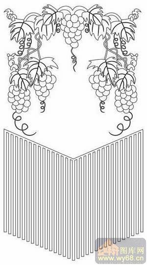 矢量图-葡萄藤-木板雕刻