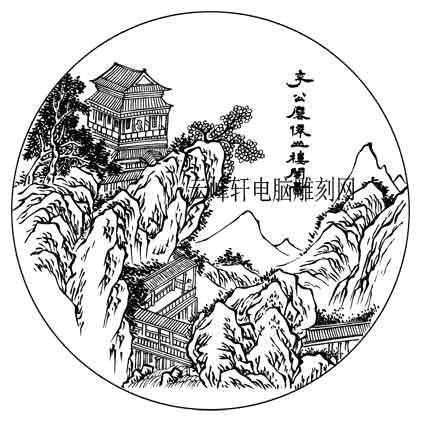 09年4月10日第三版画山水-矢量图-山亭-3-山水雕刻图片