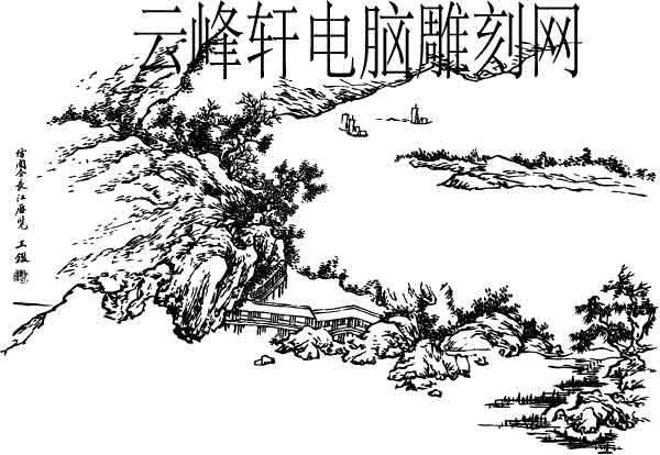 09年3月14日第二版山水画51-矢量图-柳树