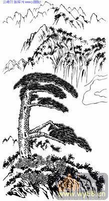 4.3迎客松-矢量图-松柏之志-yks019-山水雕刻图片