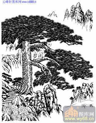 4.3迎客松-矢量图-松柏之茂-yks002-山水路径图