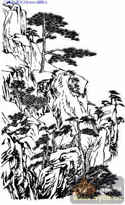 4.3迎客松-矢量图-贞松劲柏-yks011-山水雕刻图片