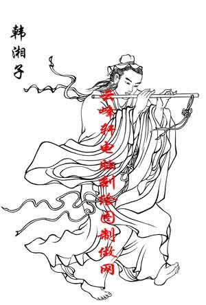 百神图-矢量图-20韩湘子-国画百神图案 - 云峰轩雕刻