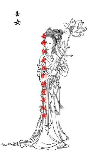 百神图-矢量图-34玉女(四)-百神路径图 - 云峰轩雕刻