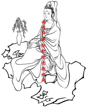 百神图-矢量图-76观音(四)-中国国画矢量百神图