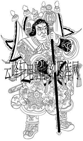 中国传统神话人物仙人图-矢量图-门神8-中国国画矢量神话人物仙人图
