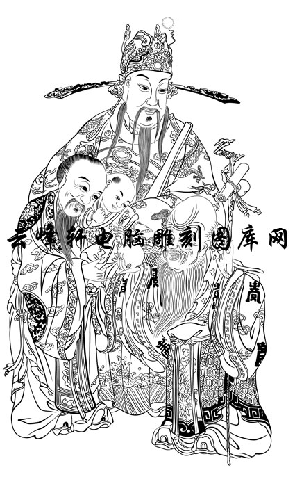 中国传统神话人物仙人图-矢量图-1福禄寿三星图-矢量神话人物仙人图案