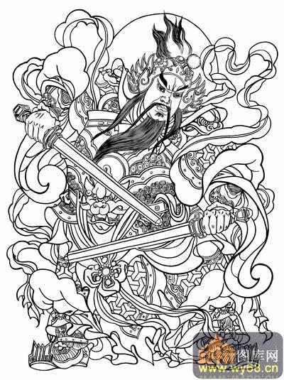 中国传统神话人物仙人图-矢量图-门神秦琼-国画神话