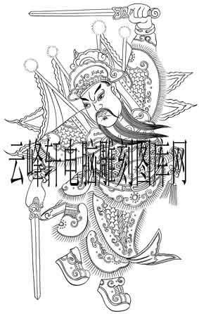 中国传统神话人物仙人图-矢量图-武门神-神话人物仙人